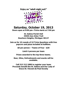 Trivia Night October 2013 Flyer Small